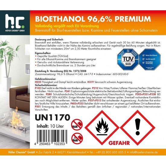Bioethanol 96,6% Premium for bio fireplace - 10 Liters
