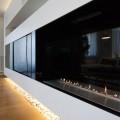 Bio fireplace built into wall